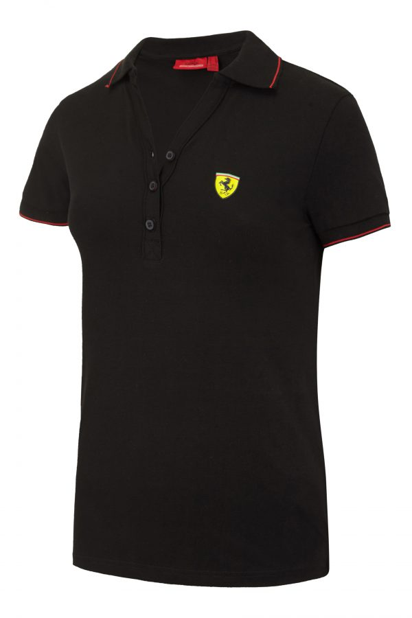 Ferrari Womens Ladies Classic Pique Polo Shirt in Red or Black