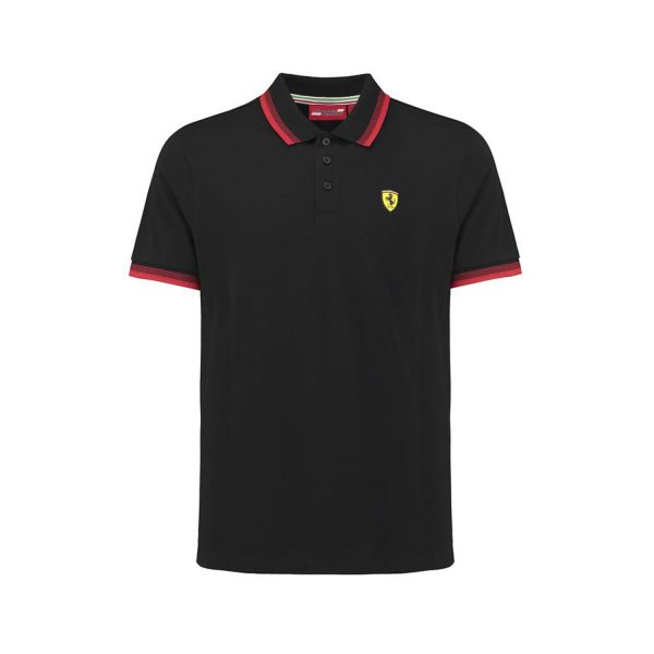 Men's Contrast Collar Polo Shirt Black 2018 Scuderia Ferrari